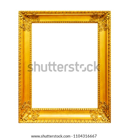 Old gilded wooden frame isolated on white background