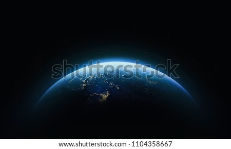 Nightly Earth in the outer space. Abstract wallpaper. City lights on planet. Civilization. Elements of this image furnished by NASA