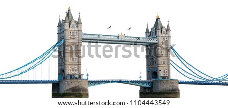 Tower Bridge in London isolated on white background with clipping path Royalty-Free Stock Photo #1104443549