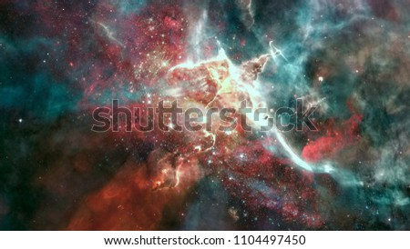Nebula and galaxies in space. Elements of this image furnished by NASA. #1104497450