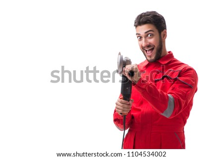 Young man with circular polisher isolated on white #1104534002