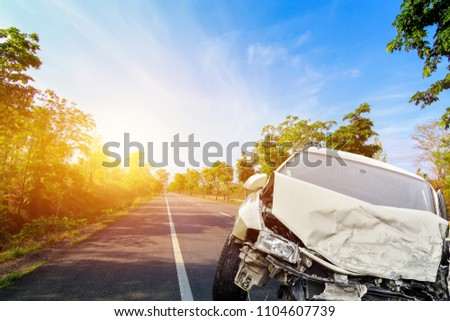 accident front of car crash get damaged by accident on the road  #1104607739