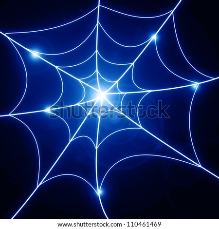Glowing spider web on a dark background