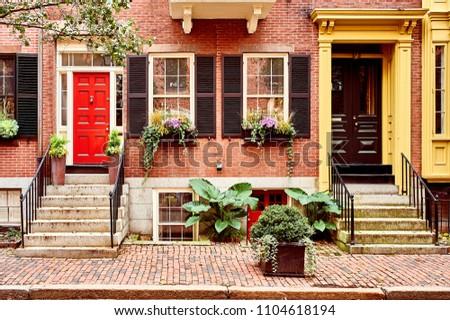 Street at  Beacon Hill neighborhood, Boston, USA. #1104618194