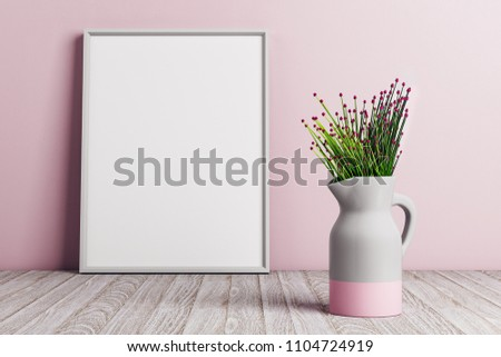 Modern vase with flowers on pink wall background with poster and copy space. interior decor design. Mock up, 3D Rendering  #1104724919
