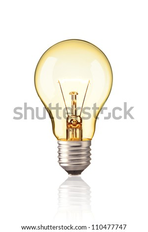 turn on tungsten light bulb,  Realistic photo image Glowing yellow light bulb isolated on white background Royalty-Free Stock Photo #110477747