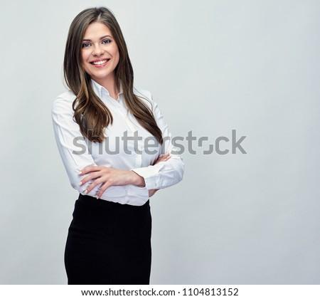 Classic studio portrait of smiling positive business woman. #1104813152