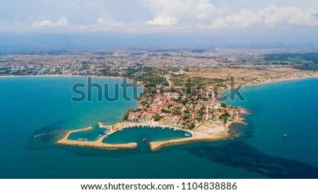 Aerial view of Side city in Antalya Turkey #1104838886