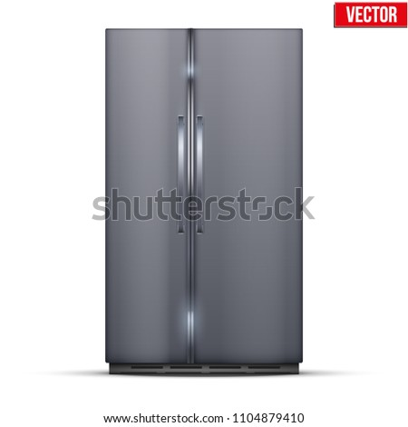 Modern Fridge Freezer refrigerator with double doors in silver color. Household tech and appliances. Vector Illustration isolated on white background. #1104879410