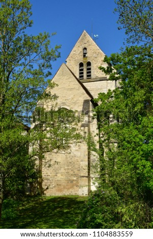 Maisons Laffitte; France - april 20 2018 : the old church #1104883559