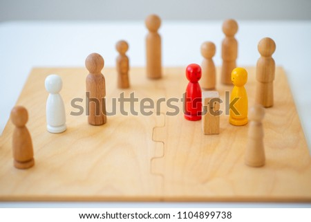 systemic board, family therapy, concept, psychotherapy wooden figures, people, team #1104899738