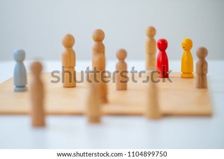 systemic board, family therapy, concept, psychotherapy wooden figures, people, team constellation, posing #1104899750