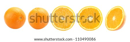 Orange fruit isolated on a white background + Clipping Path #110490086