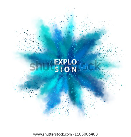 Vector watercolor transparent splash over white background. Abstract explosion of blue colored powder Royalty-Free Stock Photo #1105006403