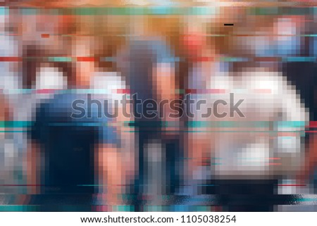 General data protection regulation GDPR concept. Blurry crowd of people on the street with glitch effect as if they were recorded with surveillance cctv camera #1105038254