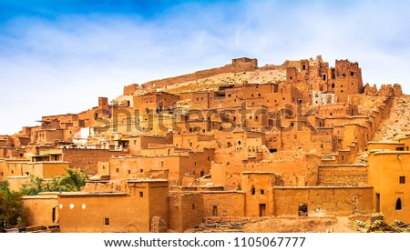 Amazing view of Kasbah Ait Ben Haddou near Ouarzazate in the Atlas Mountains of Morocco. UNESCO World Heritage Site since 1987. Artistic picture. Beauty world. Royalty-Free Stock Photo #1105067777