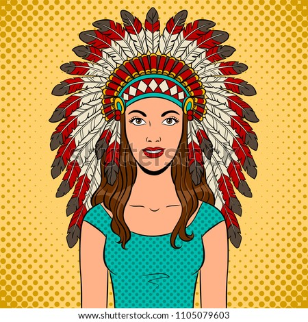 Woman in Native American traditional headdress with feathers pop art retro raster illustration. Comic book style imitation.