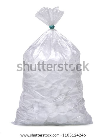 Ice cubes in plastic bag, bagged ice or packaged ice isolated on white background packaging template mockup collection with clipping path. #1105124246