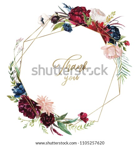 Watercolor floral illustration - burgundy flowers wreath / frame with gold geometric shape, for wedding stationary, greetings, wallpapers, fashion, background. Peony, dahlia, rose, eucalyptus, olive.