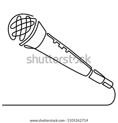 Continuous Line Drawing of Vector wired microphone icon thin line for web and mobile, modern minimalistic linear design.
