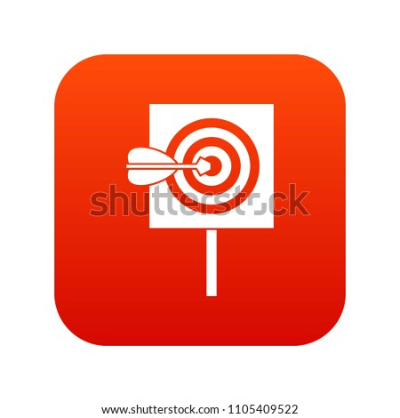 Arrow in the center of target icon digital red for any design isolated on white illustration #1105409522