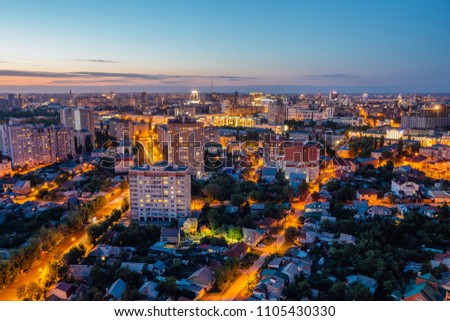 Night Voronezh aerial summer cityscape from rooftop. Residential area. #1105430330