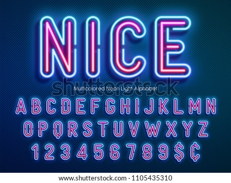Neon light alphabet, multicolored extra glowing font. Exclusive swatch color control. #1105435310