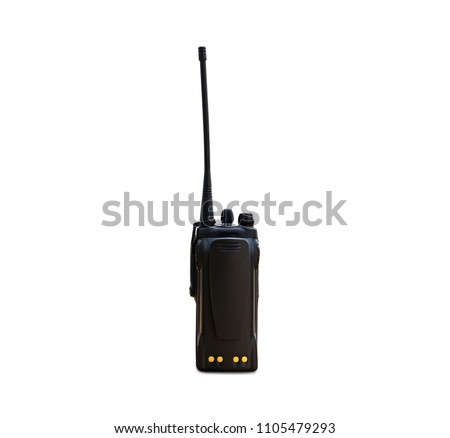 portable radios Walkie-talkie isolated on white transmitter, portable set, portable radio set, portable radio transmitter, walkie talkie, #1105479293