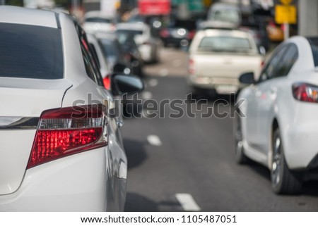 traffic jam with row of cars on toll way, rush hour #1105487051