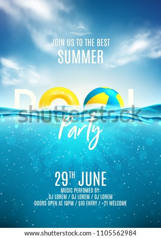 Summer pool party poster template. Vector illustration with deep underwater ocean scene. Background with realistic clouds and marine horizon. Invitation to nightclub. Royalty-Free Stock Photo #1105562984