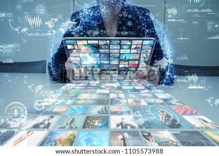 Social media concept. Streaming video. Video sharing website.
