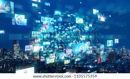 Social network and city. Royalty-Free Stock Photo #1105575359