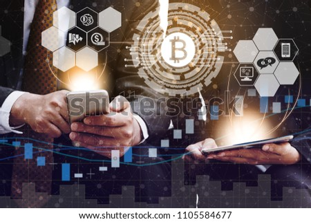 Bitcoin and cryptocurrency investing concept - Businessman using mobile phone application to trade Bitcoin BTC with another trader in modern graphic interface. Blockchain and financial technology. #1105584677