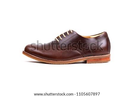 Genuine oil pull up Leather men derby shoes isolated on white background. Royalty-Free Stock Photo #1105607897