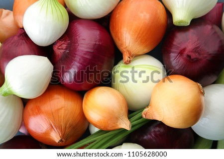 Fresh onions as background. Organic food Royalty-Free Stock Photo #1105628000
