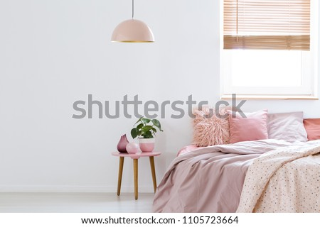 Cozy, feminine bedroom with pink bed, decorative cushions and plant on a wooden stool standing against white, empty wall. Real photo with a place for your furniture. #1105723664