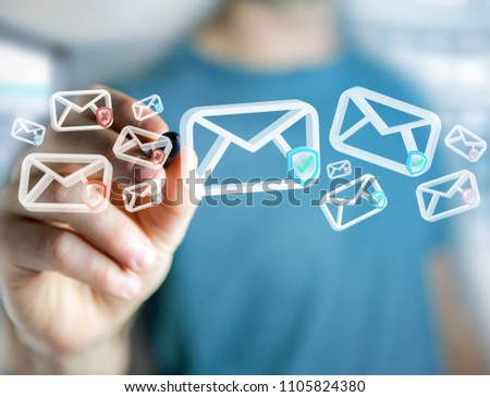 View of Approved email and spam message displayed on a futuristic interface - Message and internet concept #1105824380