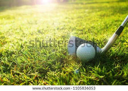 Iron and golf ball on grass ready to play. #1105836053