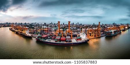 Bangkok / Thailand - June 4 2018: Container ships at Bangkok's Port Authority #1105837883