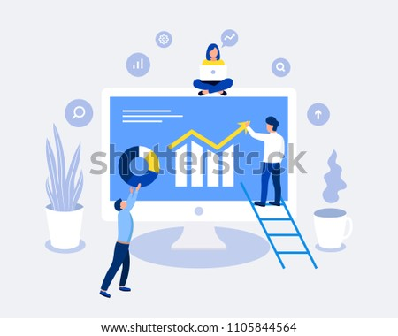 Data analysis design concept. Analysts working. Laptop screen with data analysis graphs ansd charts. Trendy flat style.  #1105844564