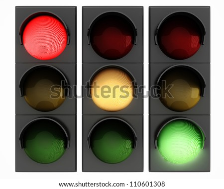 3d traffic lights on white background #110601308