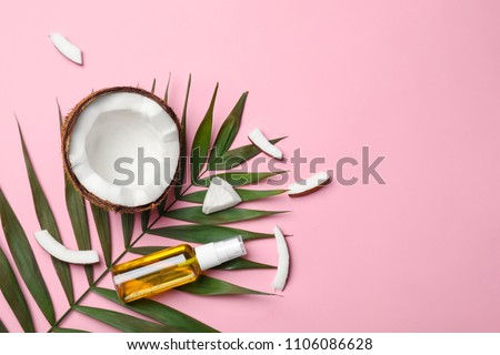 Flat lay composition with coconut oil on color background. Healthy cooking #1106086628
