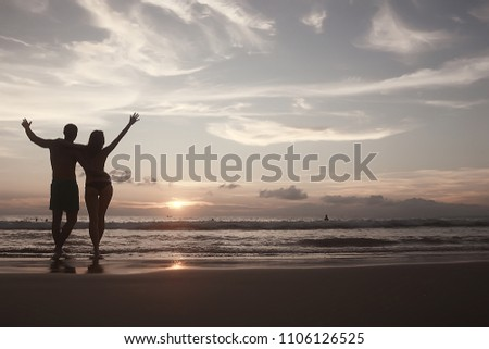 silhouette in love sunset sea / newlyweds in honeymoon at sea, vacation luck summer sea beach, silhouette couple at sunset #1106126525