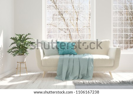 White room with sofa and winter landscape in window. Scandinavian interior design. 3D illustration #1106167238
