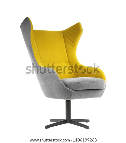 Comfortable armchair on white background. Interior element #1106199263