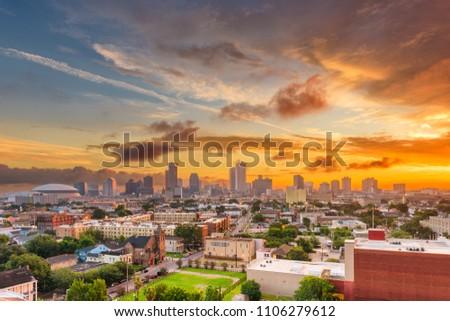 New Orleans, Louisiana, USA downtown skyline at dusk.