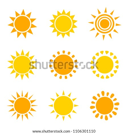 Set of orange and yellow sun icons on white background. Vector illustation