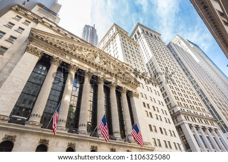Exterior of New york Stock Exchange, largest stock exchange in world by market capitalization and most powerful global financial institute. Wall street, lower Manhattan, New York City, USA. #1106325080