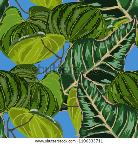 Seamless pattern with tropical leaves: palms, monstera, passion fruit. Beautiful allover print with hand drawn exotic plants. Swimwear botanical design. Vector.  #1106333711