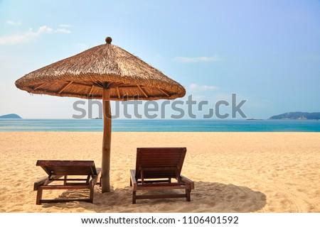 Seaside recliners in Yalong Bay, Sanya, Hainan Province #1106401592